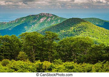 ansicht, von, altes , lappen, berg, von, durchfahrt, übersehen, in, shenandoah nationalpark, virginia.