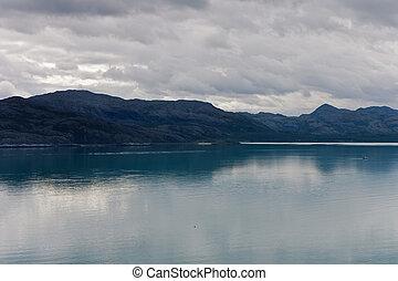 ansicht, von, der, berge, und, fjorde, bewölkt