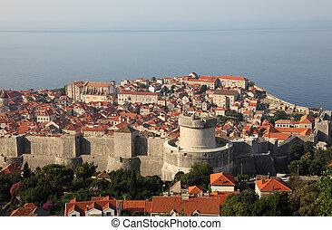ansicht, von, der, mittelalterlich, stadt, dubrovnik, in, kroatien