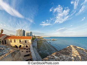 ansicht, von, der, promenade, von, larnaca, castle., zypern