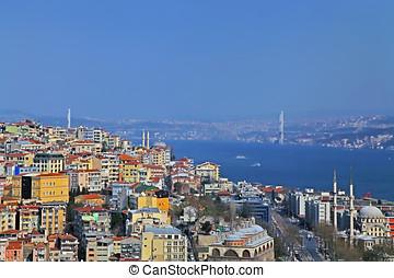 ansicht, von, der, turm, von, galata, auf, der, bosphorus., istanbul., turkey.