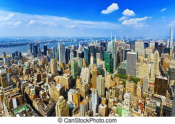 ansicht, von, manhattan, von, der, skyscraper's, beobachtung, deck., neu , york.