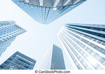ansicht, von, modern, blaues, gefärbt, zeitgenössisches büro, stadt, gebäude