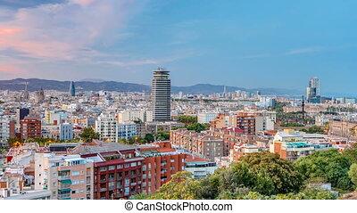 ansicht, von, montjuic, aus, barcelona, tag nacht, timelapse, catalonia, spain.