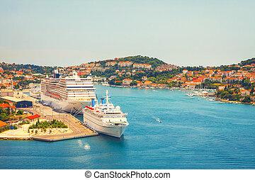 ansicht, von, porto , in, dubrovnik., croatia.