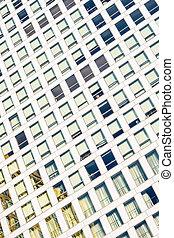 ansicht, von, wolkenkratzer, windows