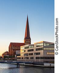 ansicht, zu, a, kirche, in, rostock, deutschland