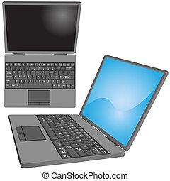 ansichten, schlüssel, laptop, seite, computertastatur, oberseite