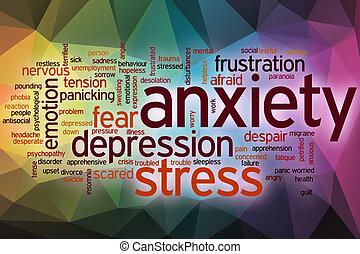 ansiedad, palabra, nube, con, resumen, plano de fondo