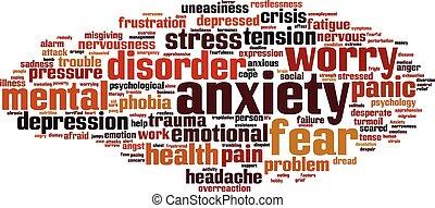 ansiedade, palavra, nuvem