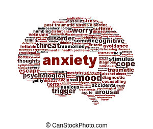 ansiedade, saúde mental, símbolo, isolado, branco