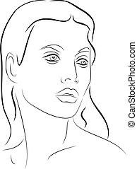 ansikte, 2, ung, kvinna