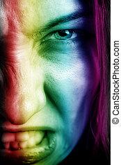ansikte, av, argsint kvinna