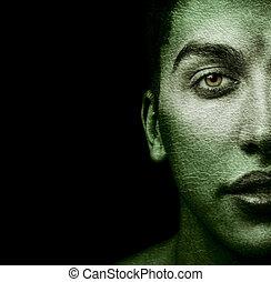 ansikte, av, konstigt, man, med, strukturerad, skinn