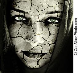 ansikte, av, kvinna, med, knäckt, skinn