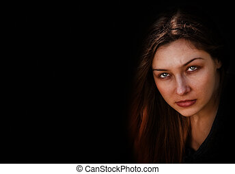 ansikte, av, ont, mörk, hemsökt av spöken, kvinna