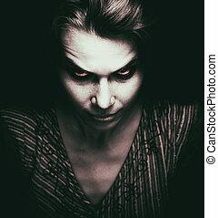 ansikte, av, skrämmande, kvinna, med, ont, ögon