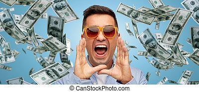 ansikte, av, skrikande, man, med, stjärnfall, dollar, pengar