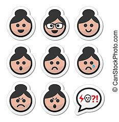 ansikte, hår, kvinna, bulle, farmor