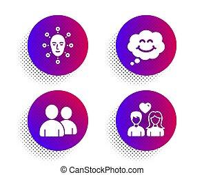 ansikte, ikonen, folk., igenkännande, pratstund, kärlek, skylt., biometrics, par, användare, le, komiker, set., ansiktsbehandling, vektor