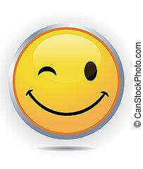 ansikte, smiley, gul