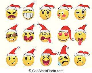 ansikte, smiley, sätta, jul, ikonen