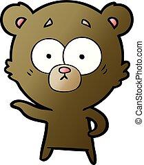 ansioso, caricatura, oso