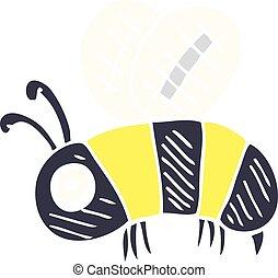 ansioso, garabato, caricatura, abeja