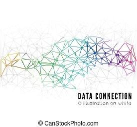 anslutning, abstrakt, nätverk