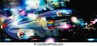anslutning, med, den, optisk fiber