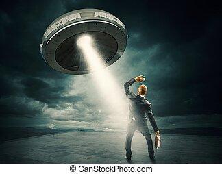 anslutning, ufo, utrymme