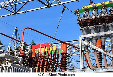 anslutningar, hydro-electric, energi, stort, elektrisk, ...