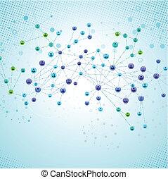 anslutningar, nät, nätverk, social