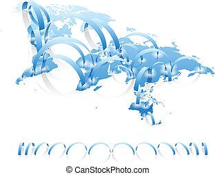 anslutningar, värld, begrepp, karta