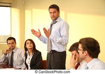 anspråkslös affärsverksamhet möta, -, chef, anförande