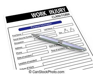anspruch, form, arbeit, stift, verletzung, 3d