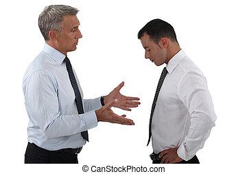 anställd, allvarlig, diskussion, ha, chef