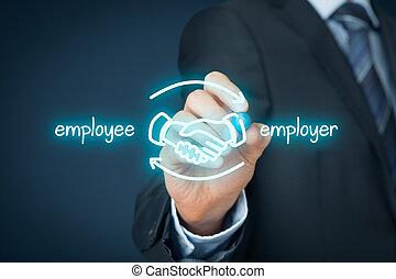 anställd, och, arbetsgivare