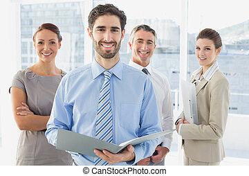 anställda, ha, a, affärsmöte