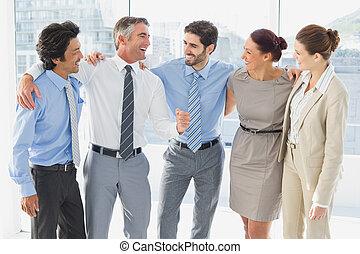anställda, le, och, havande kul
