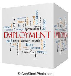 anställning, 3, kub, ord, moln, begrepp