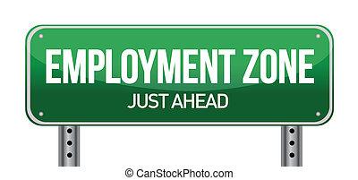 anställning, zon, grön, vägmärke, in