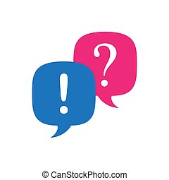 Answer and question. Pink and blue speech bubbles, question and exclamation signs. Stock vector illustration isolated on white background.