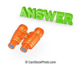 answer., palabra, binoculares
