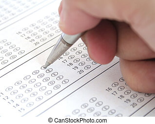 Answer Sheet - Answering a Multiple Choice Exam