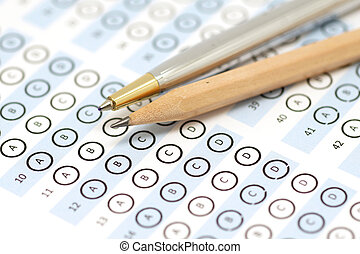 answer sheet test score with pencil