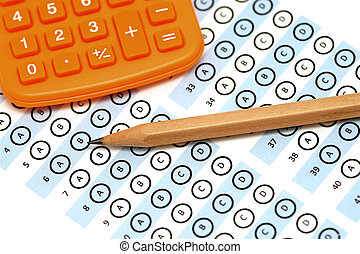 answer sheet test score with pencil calculator