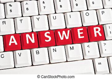 Answer word on keyboard