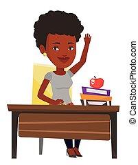 answer., wychowywanie, klasa, student, ręka