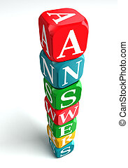 answers 3d colorful buzzword